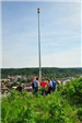 Full View of New Flag Pole with City