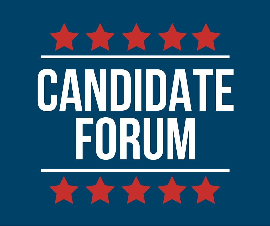 "Image of a patriotic sign that reads ""Candidate Forum."""