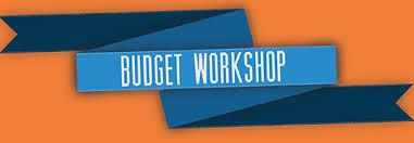 "Blue ribbon with the words ""Budget Workshop"" on it over an orange background."
