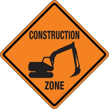 Orange diamond-shaped construction sign with a black crane and the words &#34Construction Zone&#34