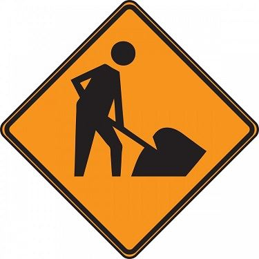 Image of an orange construction sign with a stick figure worker on it.