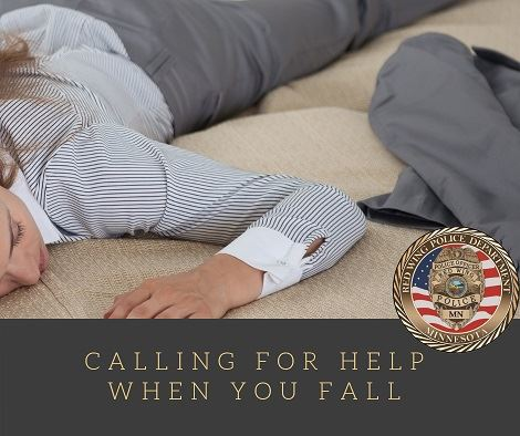 "Image of a woman face-down on the floor with the words ""Calling For Help When You Fall"" and th"