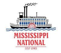 Logo for Mississippi National Golf Links including a sketch of a paddle boat on the water with the w