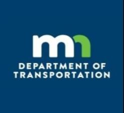"MnDOT logo, stylized white ""m"" and green ""n"" against a blue background"