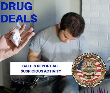 "Image of a man looking down and a hand holding a baggie of white powder with the words ""Drug Deal"