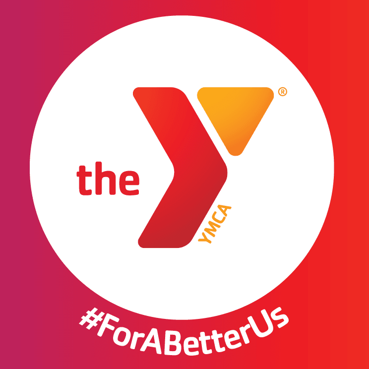 Red Wing YMCA logo in a white circle against an orange/pink background with the slogan #ForABetterUs