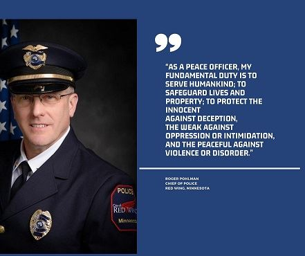 Photo of Police Chief Pohlman with quote in white against a blue background