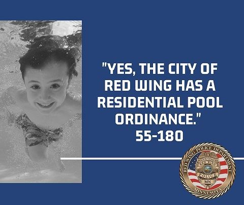 Black and white photo of a boy underwater next to blue background w pool ordinance and RWPD seal