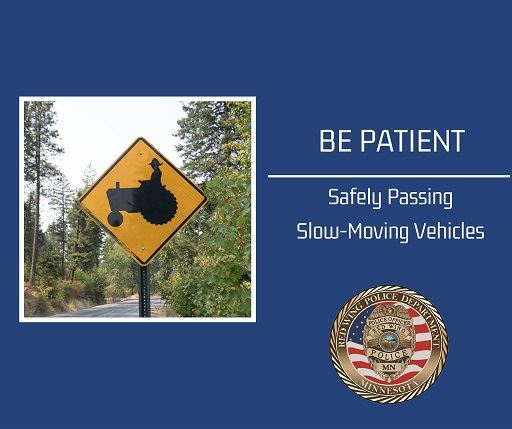 "Image of tractor road sign against blue background with ""Be Patient"" and RWPD seal"