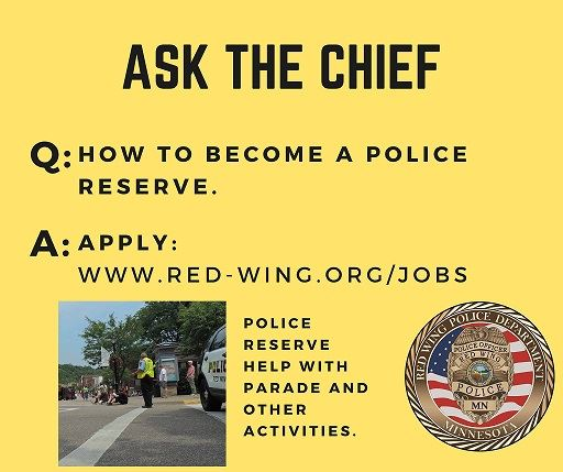 Q: how to become a police reserve. A: Apply: [link]; yellow background, RWPD seal