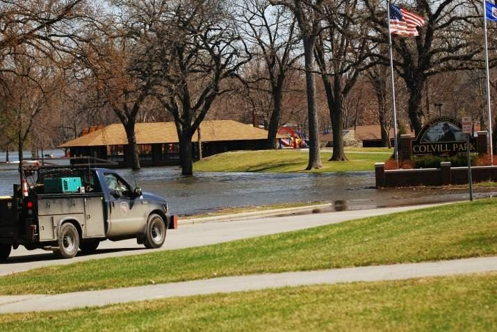 Truck at Flooded Colvill Park in April 2011