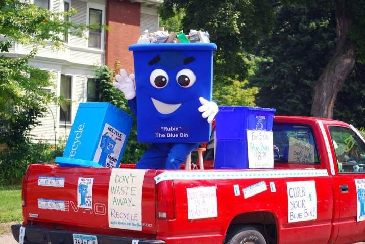 Rubin the Blue Bin Costume in Truck in Parade