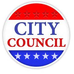 "Circular badge with the words ""City Council"" written in red, white, and blue"