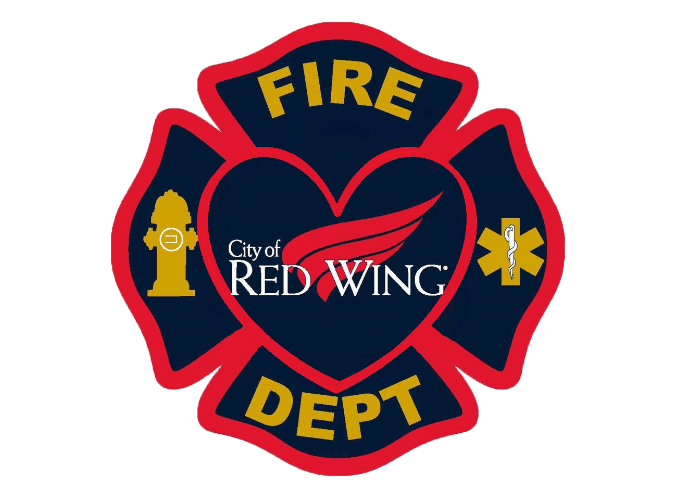 red wing fire department logo heart trans back