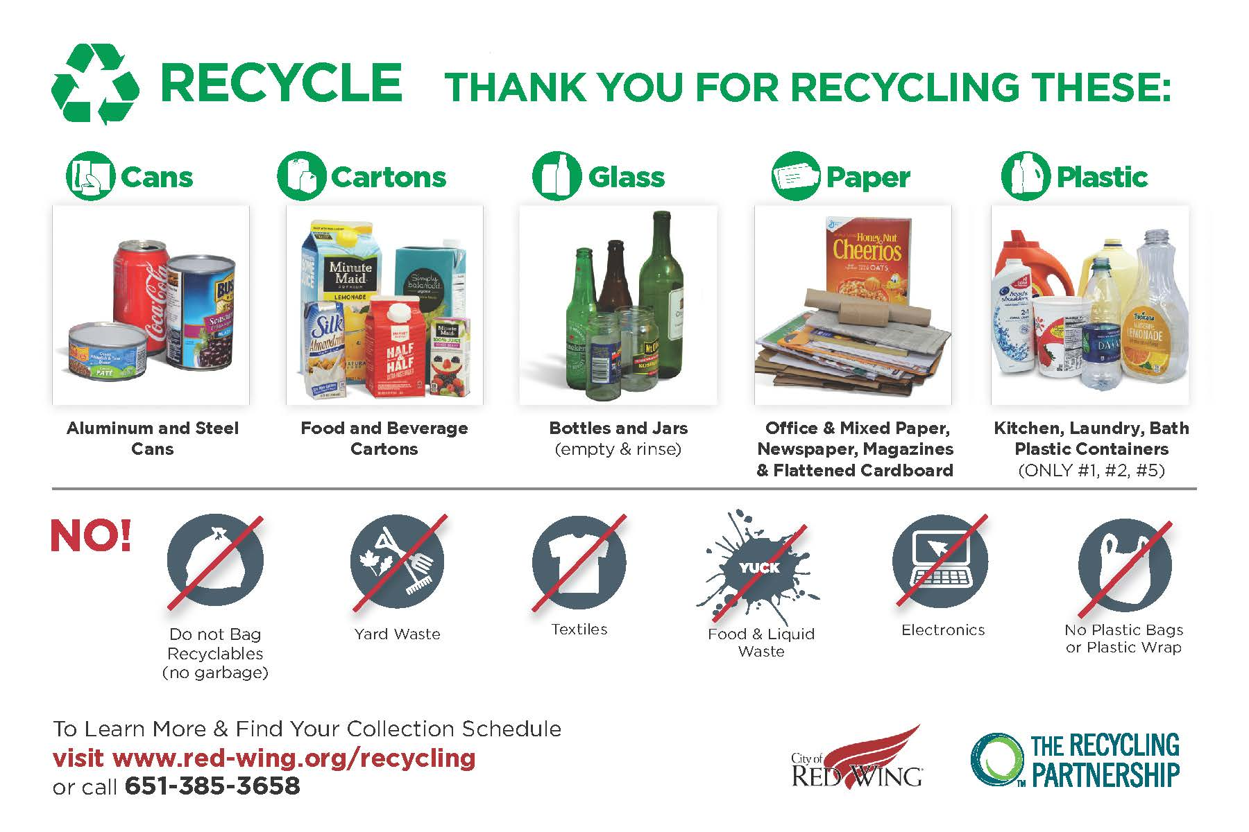 Image of single-sort recyclables and non-recyclable items