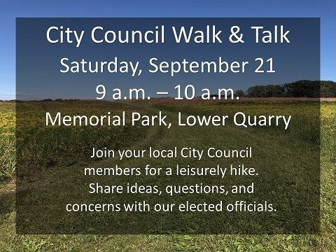 Details of the Sept. 21 City Council walk and talk with a background of Memorial Park.