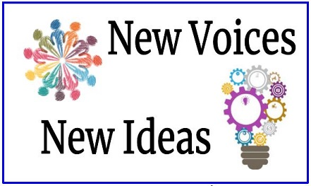 "Black text against a white background, ""New Voices; New Ideas"" with images of a lightbulb made"