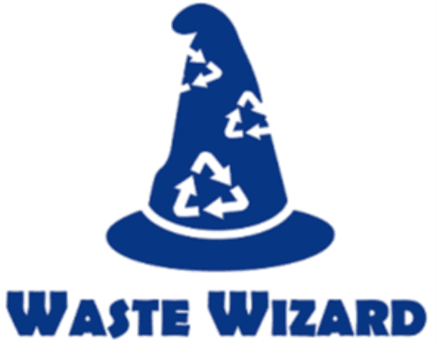 "Image of a pointy blue wizard hat with white recycling symbols above the words ""Waste Wizard"""
