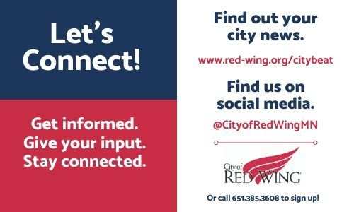 Split image--on the left, blue and red background with the words &#34Let&#39s Connect; Stay informed