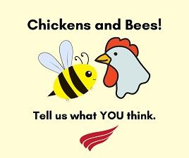 "Cartoon images of a chicken and bee with red text ""Chickens and Bees! Tell us what YOU think"""